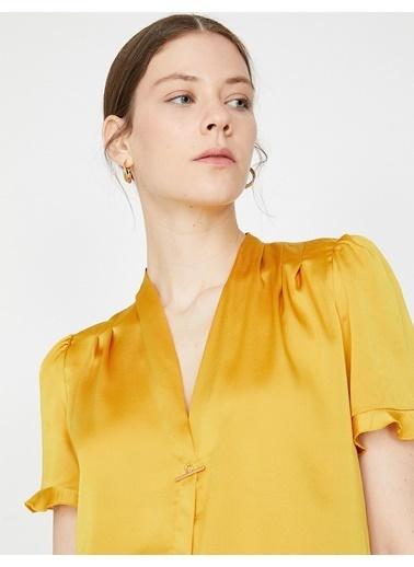 Koton Kısa Kollu Bluz Sarı